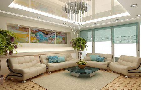 Многоуровневый потолок со встроенными светильниками