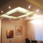 Многоуровневый матовый потолок со встроенными светильникками