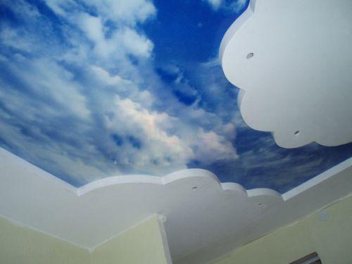 Фотопечать на двухуровневом натяжном потолке - небо