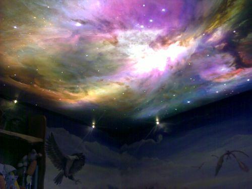 """Фотопечать на потолке """"Галактика"""""""