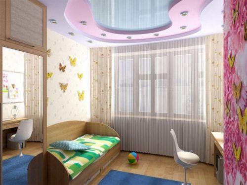 Глянцевый трёхуровневый потолок в комнате для девочки