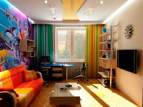 Двухуровневый потолок в комнате для подростка